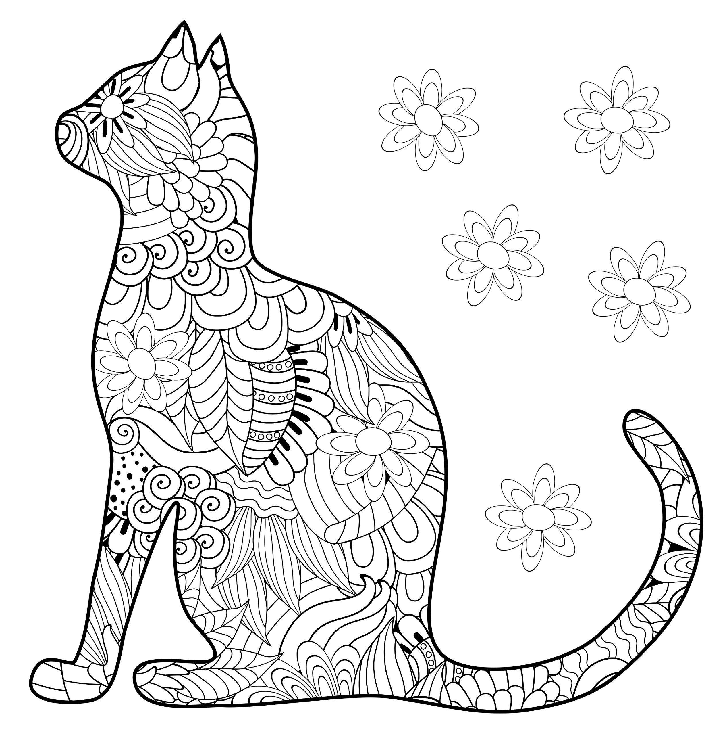 Силуэт кошки - Животные | Раскраски мандала, Раскраски, Силуэт