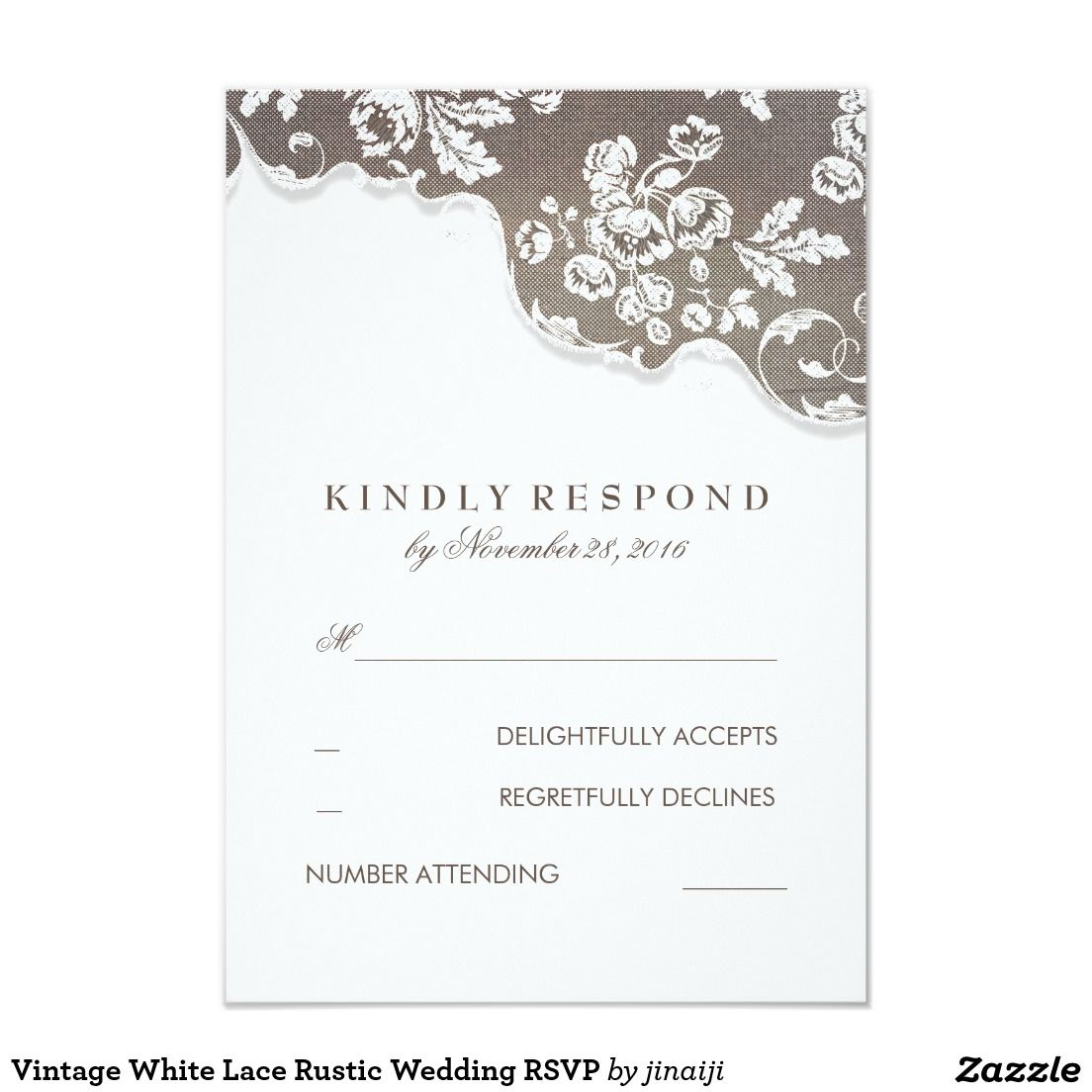 Vintage White Lace Rustic Wedding RSVP Card | Wedding rsvp, Rsvp and ...