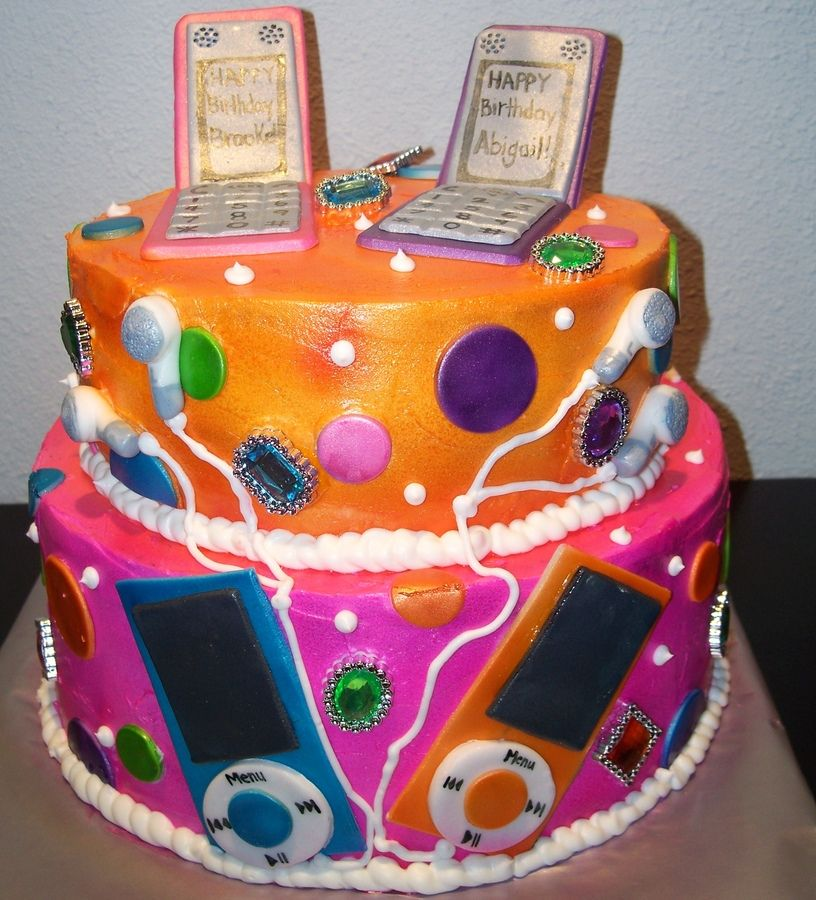 Brilliant 2 Tier Twin Teenage Girl Cake With Images Teenage Girl Cake Funny Birthday Cards Online Inifodamsfinfo
