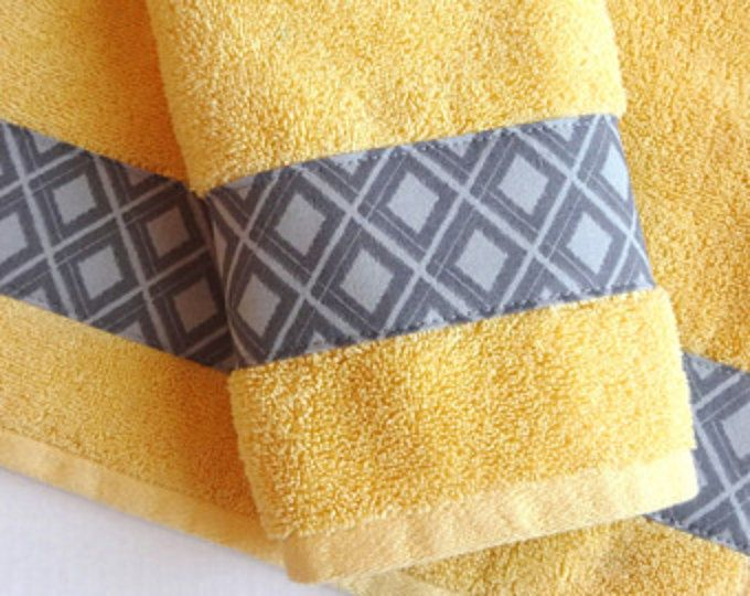 Yellow And Grey Bath Towels Yellow And Grey Yellow And Gray Yellow Bathroom Grey Bathroom Decorated Towels Hand Towel August Ave Custom Towel Yellow Towels Grey Bath Towels
