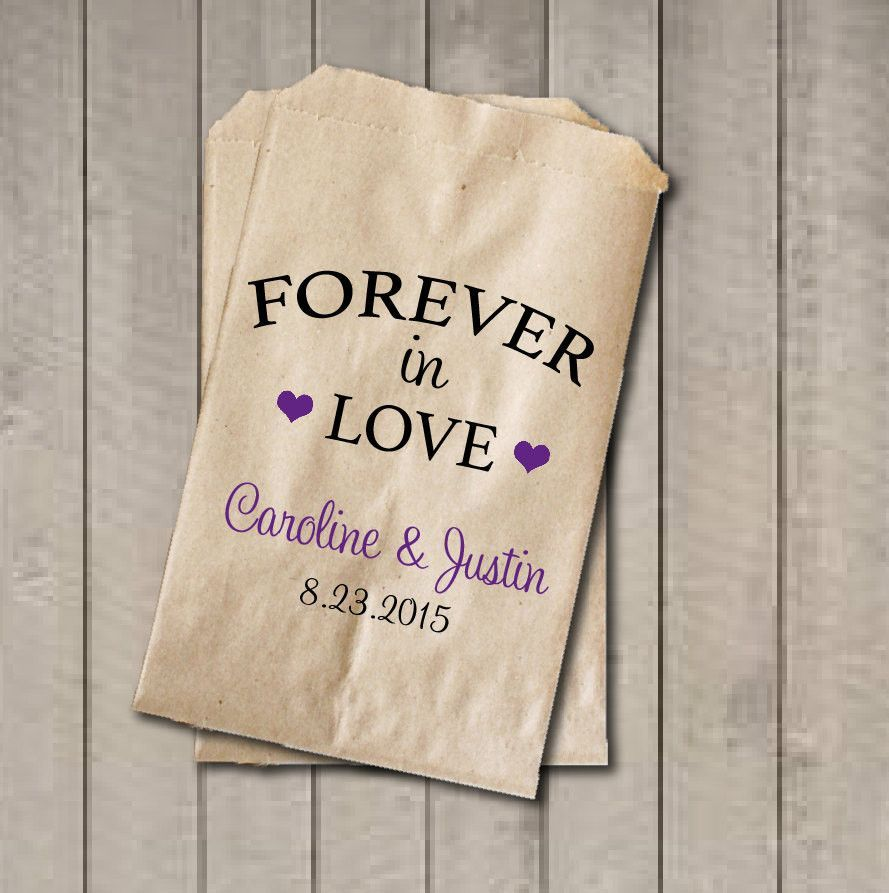 Wedding Favor Bags, Forever in Love, Personalized Wedding Candy Bags ...