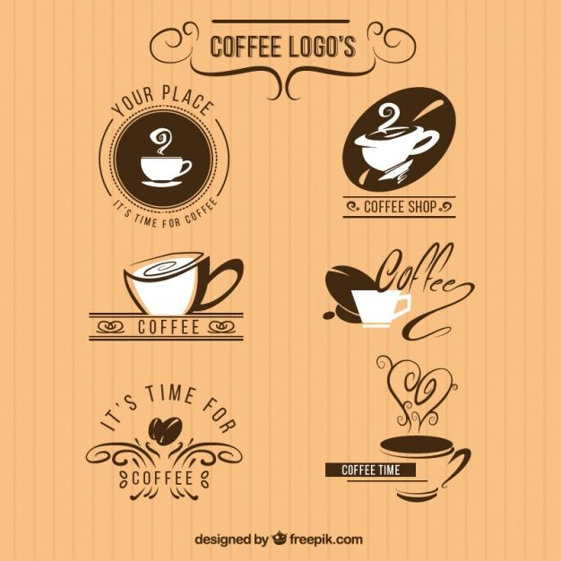 pack de seis logos para una cafetería Vector Gratis