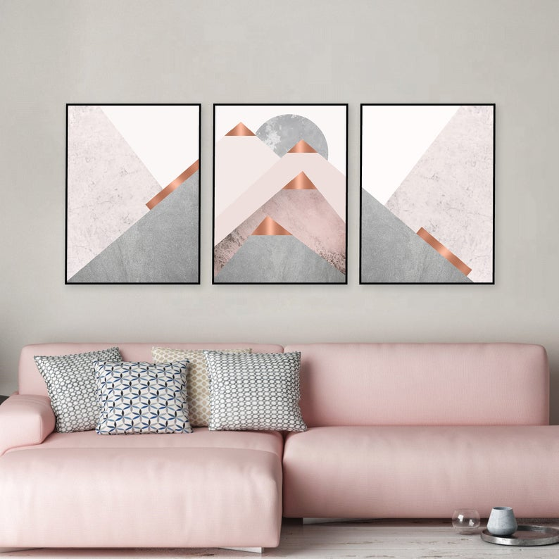 Blush Pink Wall Art Triptych Set Of 3 Downloadable Prints Blush Pink Grey And Copper Scandinavian Mountains Trio Matching Posters 16x20 Pink Wall Art Pink Walls Downloadable Print