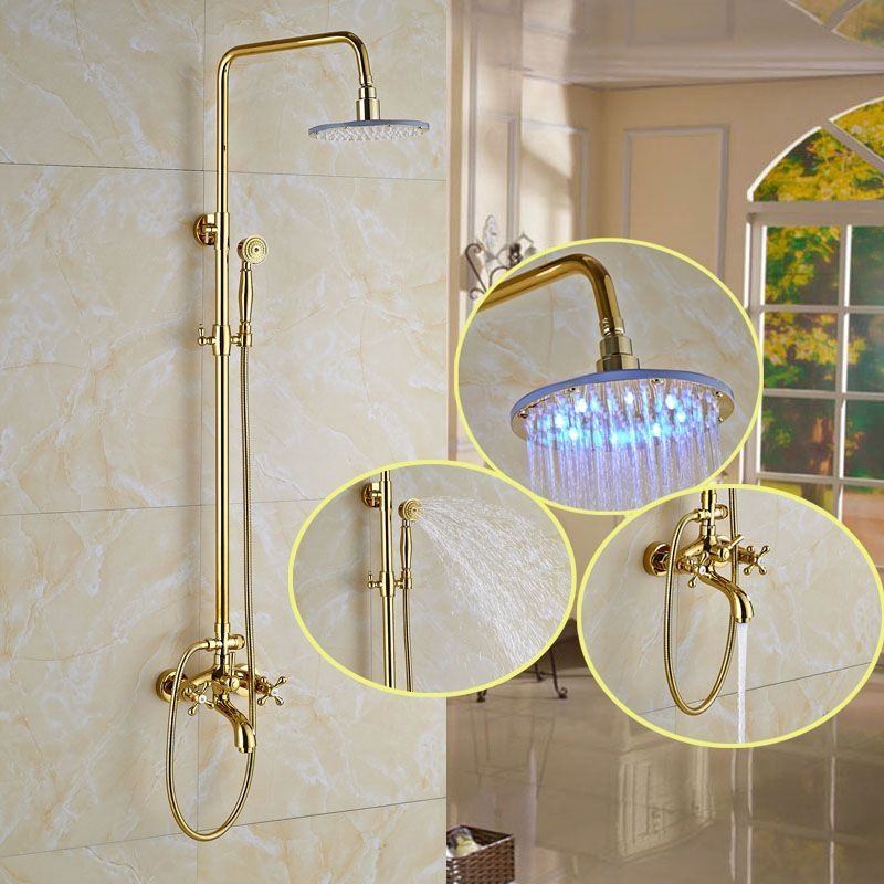 Catawba Gold Finish Wall Mounted Round Led Rainfall Shower Set With Handheld Shower Tub Spout 8 10 12 Rainfall Shower Tub Spout Shower Tub