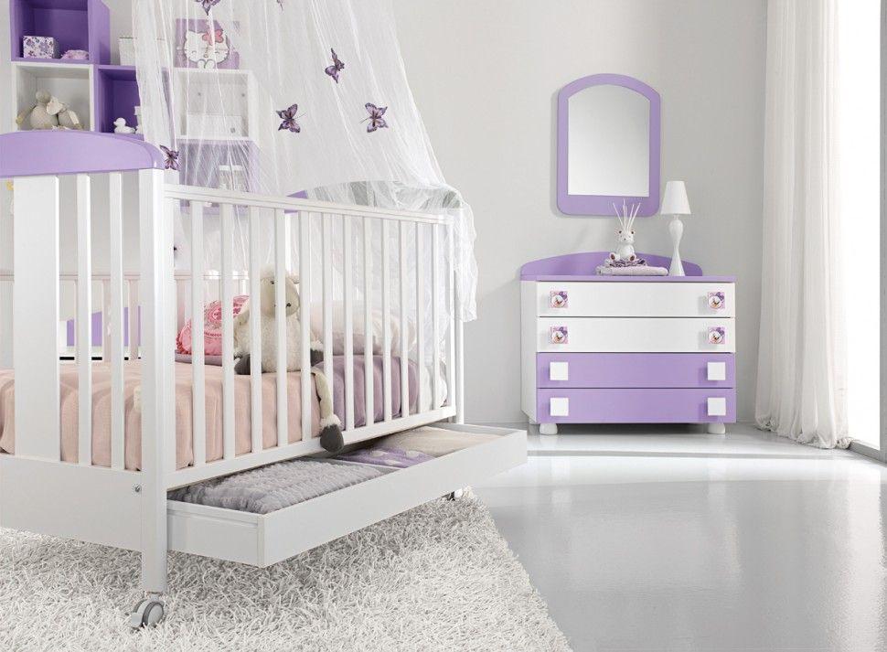 Cameretta Bebè ~ Cameretta baby culla in bianco e lilla colombini colombini