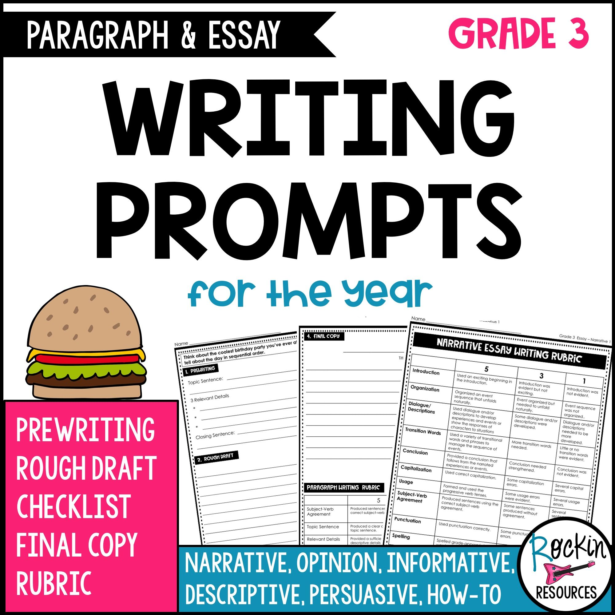 3rd Grade Writing Prompts Paragraph And Essay Writing Rockin Resources Paragraph Writing 4th Grade Writing Prompts 3rd Grade Writing Prompts [ 2000 x 2000 Pixel ]