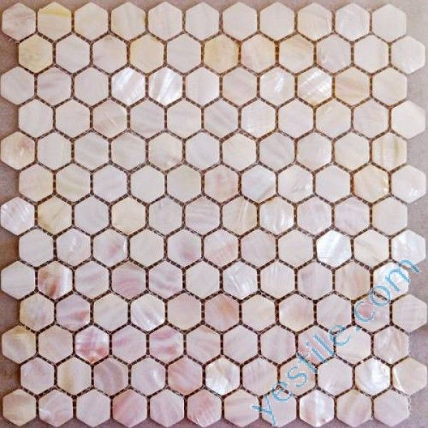 hexagon pink mother of pearl mosaic