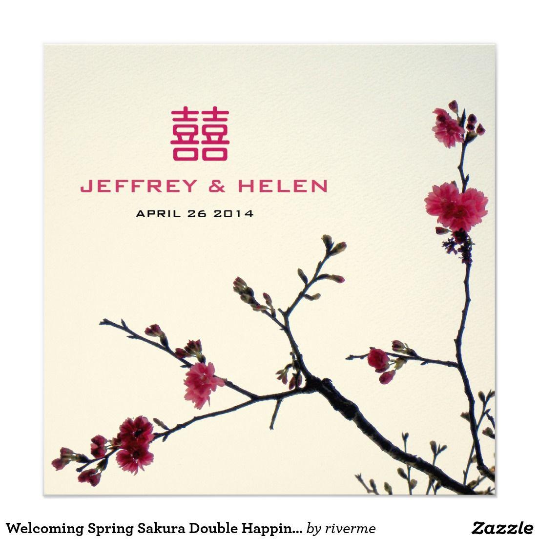 Welcoming Spring Sakura Double Happiness Wedding Card | Chinese ...