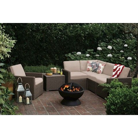 Delightful Threshold™ Heatherstone Wicker 6 Piece Patio Sectional Seating Furniture  Set From Target