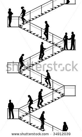Editable Vector Silhouettes Of People Walking Up And Down Flights