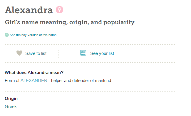 Alexandra Baby girl names starting with letter A