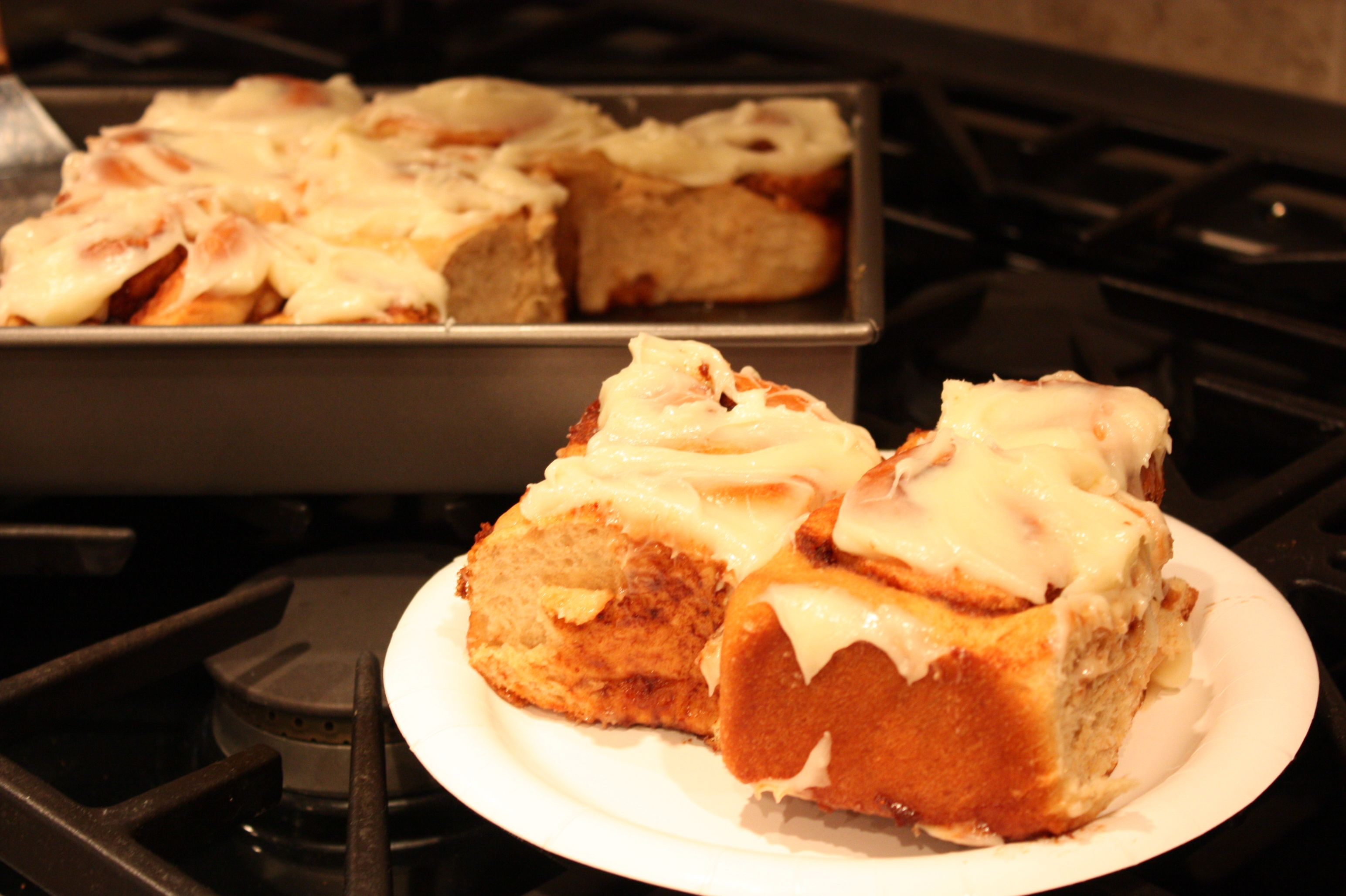 Homemade cinnamon rolls with gooey cream cheese icing. I could eat these everyday!