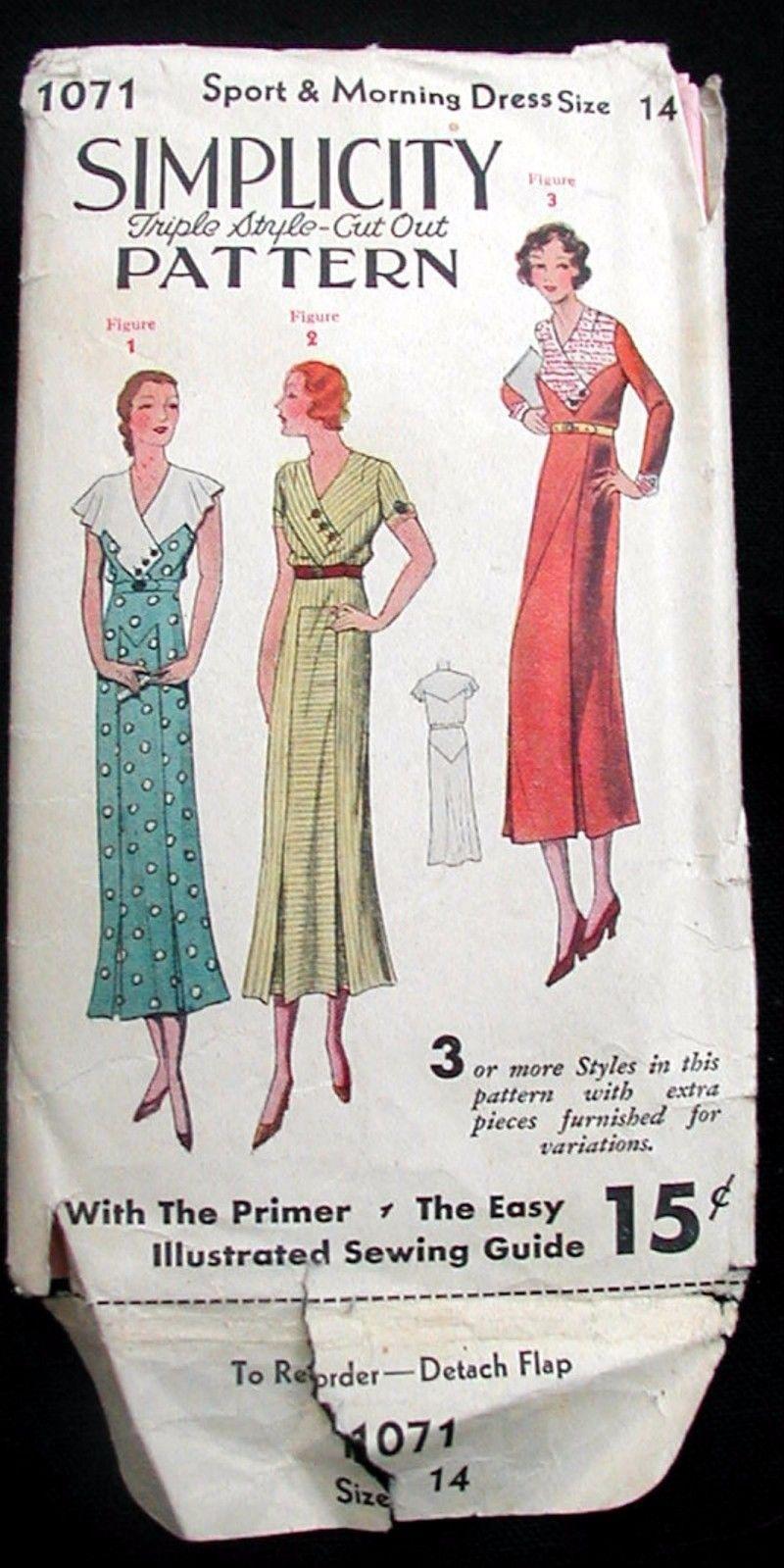 Vintage 1930\'s Art Deco Simplicity 1071 Ladies Dress Frock Fabric ...
