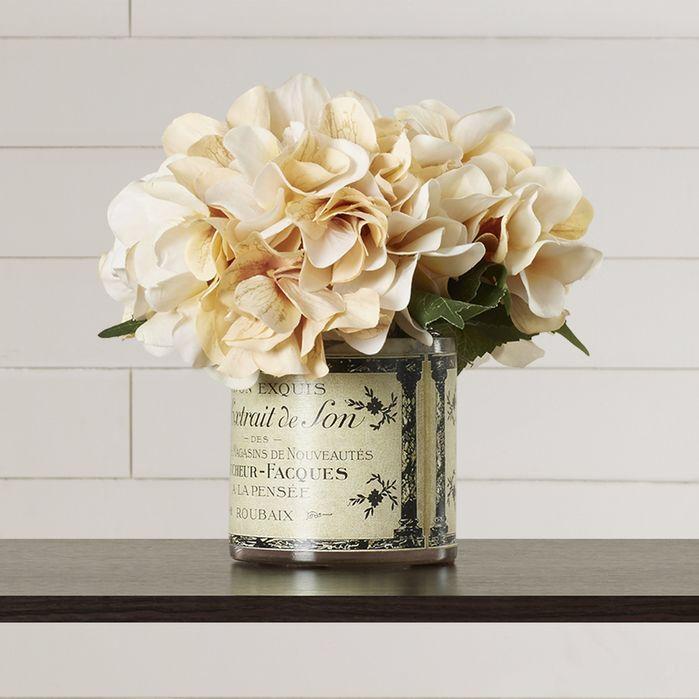 Adelaide Hydrangea Floral Arrangement In French Labeled Pot Faux Hydrangea Floral Arrangements Hydrangea Centerpiece