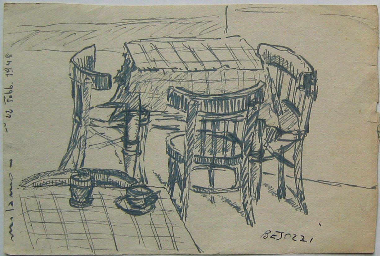 E Besozzi Pittore 1948 Tavolo E Sedie Milano China Su Carta Cm 11x16 5 Arc 1253 Tekenen