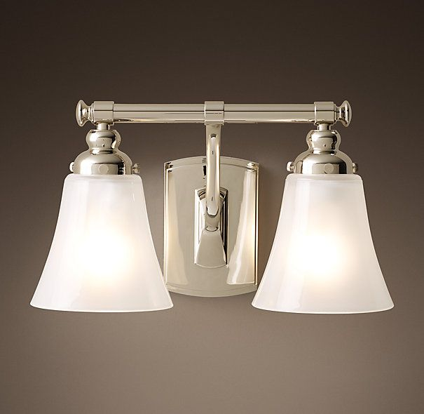 rhs bistro double sconcewith art nouveau curves and lozenge finials bistro revives the old world marriage of beauty and utility all bath lighting - Double Sconce Bathroom Lighting