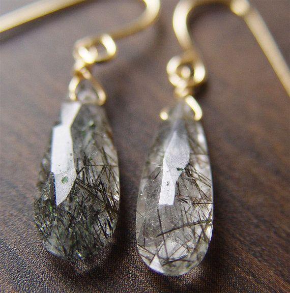 Black Rutilated Quartz Gold Earrings | Schmuck aufbewahrung, Wickeln ...