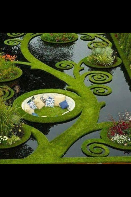 """One of those """"If I win the lottery"""" type of #homefeatures, but what do we have if we can't dream about a grass living room built into a pond? #americandream"""