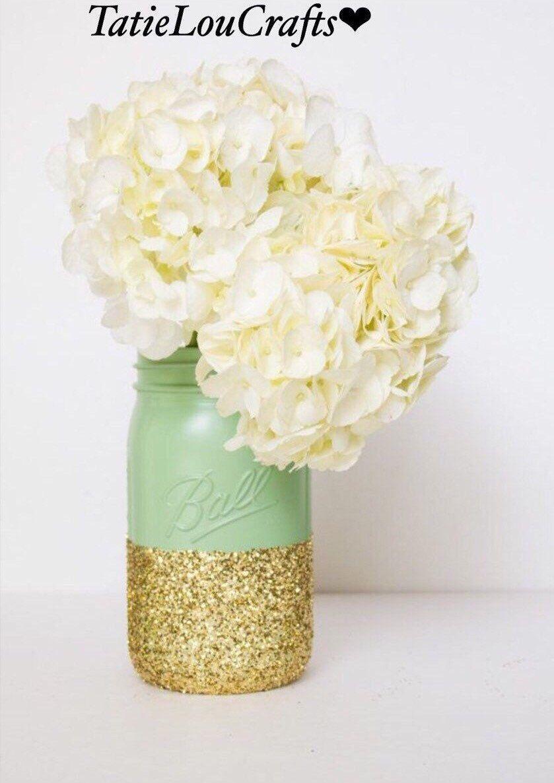 Set of mint green and gold quart size mason jars