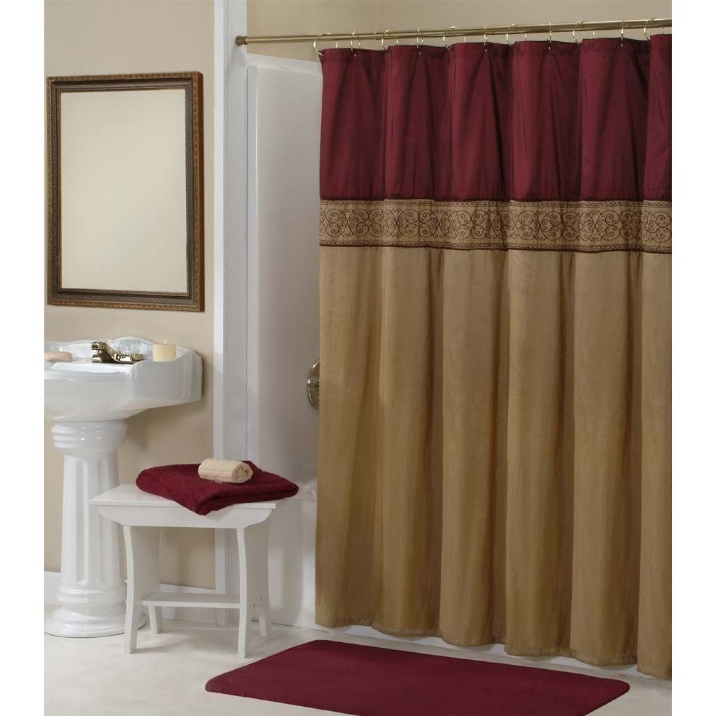 This Addison Gold Maroon Shower Curtain comes with pure elegance  Sure to add