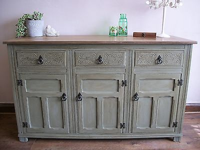 beautiful painted shabby chic sideboard cupboard annie sloan chateau grey shabby chic. Black Bedroom Furniture Sets. Home Design Ideas