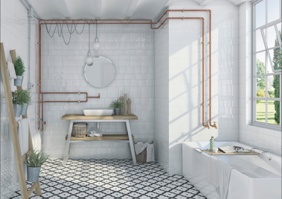 cuivre tube robinetterie salle de bain carrelage vives azulejos - Salle De Bain Cuivre