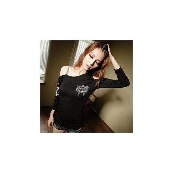 Chain-Strap Off-Shoulder Printed T-Shirt Black - One Size ($30) ❤ liked on Polyvore