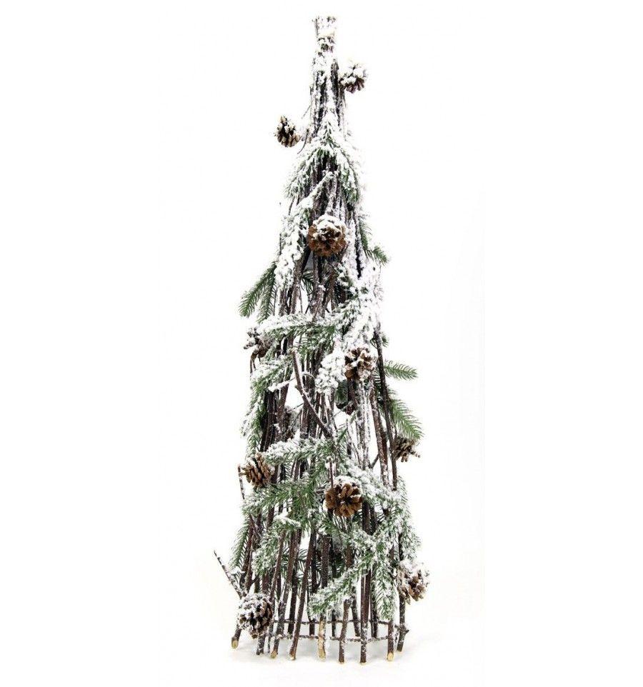 arbol navidad rstico natural decorativo nevado