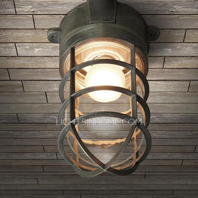 The nautical ceiling light is made up of metal fixture, glass shade ...