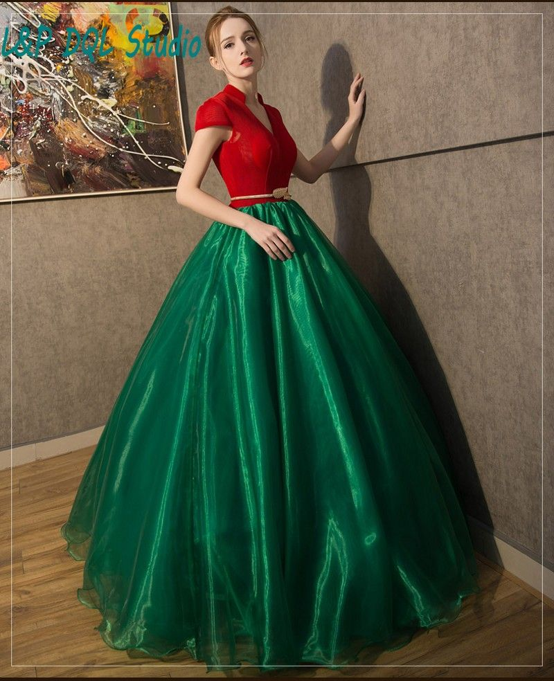 b6682a924e2 ... Eye Catching Ball Gown Prom Dresses Red and Dark Green Prom Dresses with  Gold Sash from Reliable dresses dropship suppliers on Life Peace Dress Store