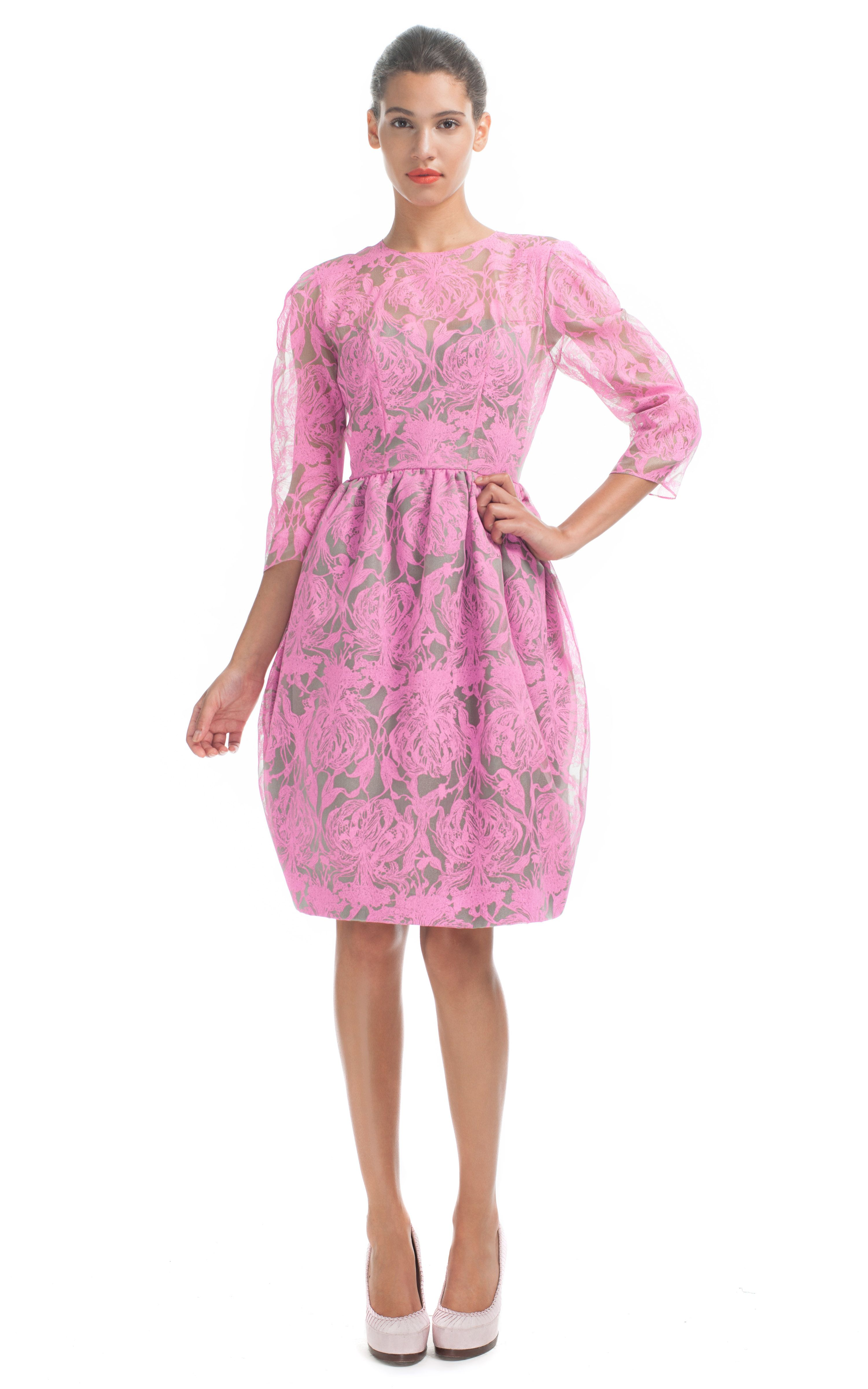 Honor pink neon orchid print sleeve bustier dress at moda