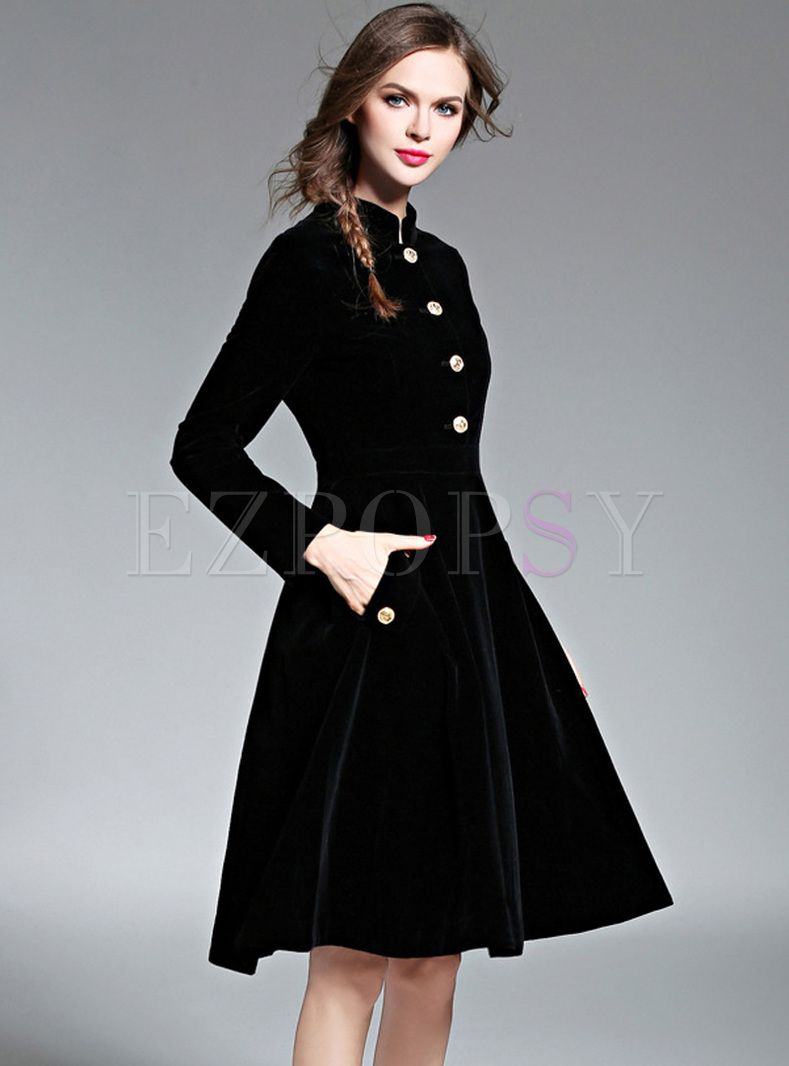 Shop for high quality Black Brief Stand Collar Buttoned Skater Dress online  at cheap prices and discover fashion at Ezpopsy.com 91a9d7820