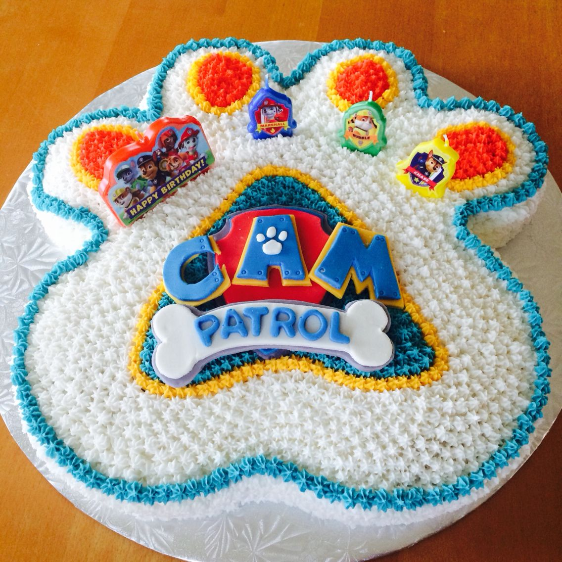Paw Patrol Cake Created With One Square Pan One Round