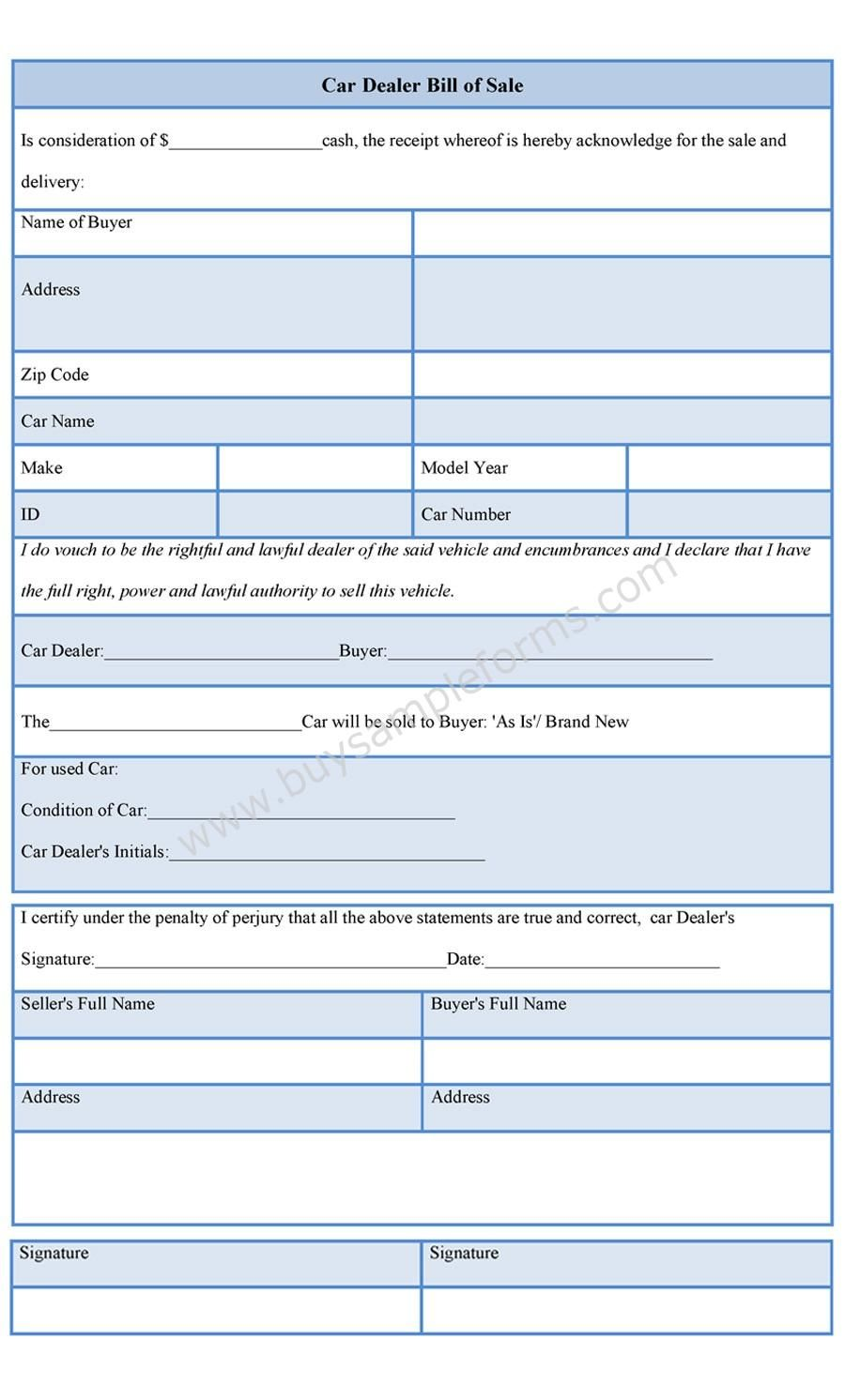 car dealer bill of sale form cars