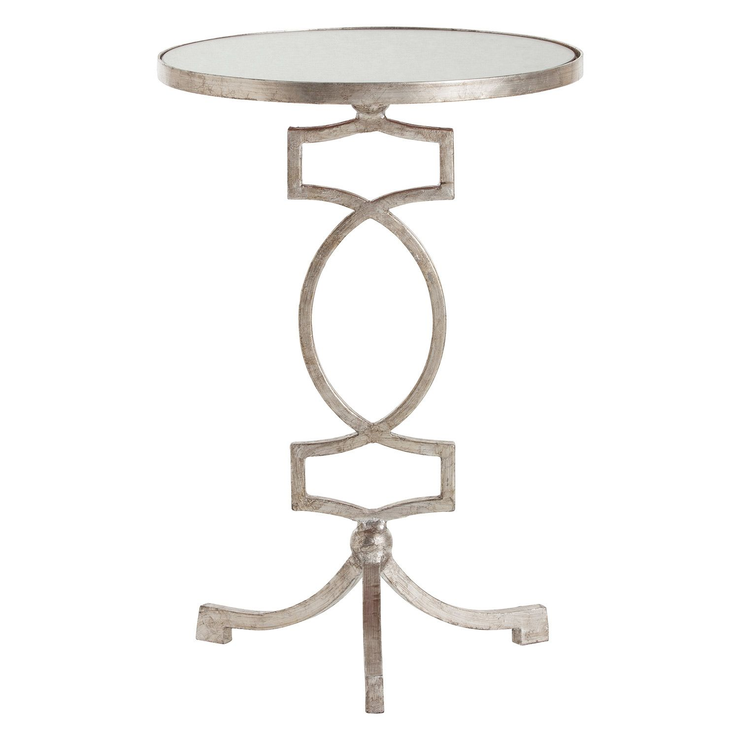 Arteriors Cooper Silver Leaf Iron Mirror Accent Table Zinc Door