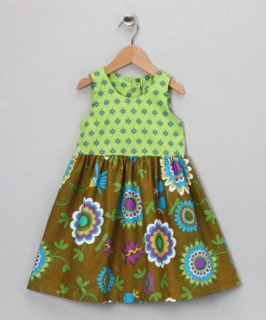 Take a look at this Green Teatime Dress - Toddler & Girls by Times Two on #zulily today!