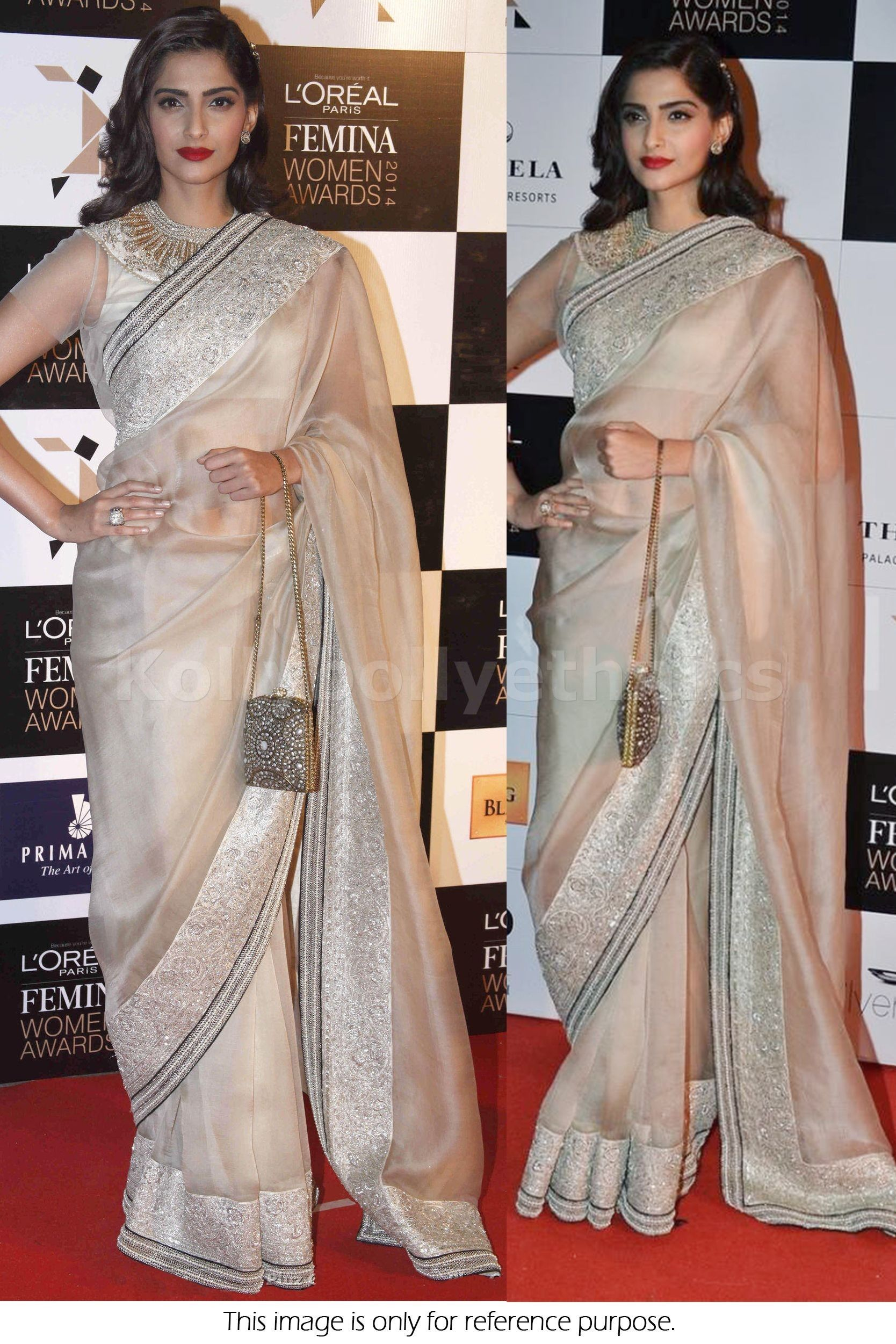 08e1a3beb8 Bollywood Style Sonam Kapoor Tissue Saree in Cream color | bollywood ...