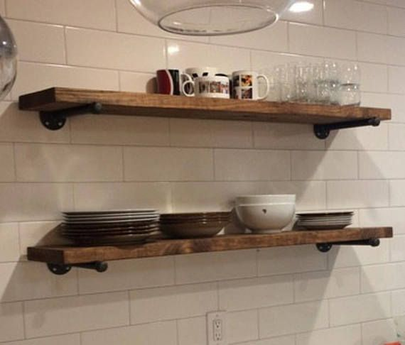 ONE Extra Long 40 Deep Rustic Industrial Floating Shelves TWO Iron Magnificent Extra Deep Floating Shelves