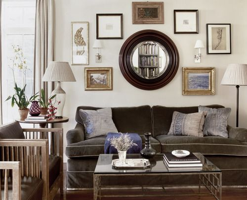Mirrors Above Couch With Wreath Open The Room Up With Mirrors