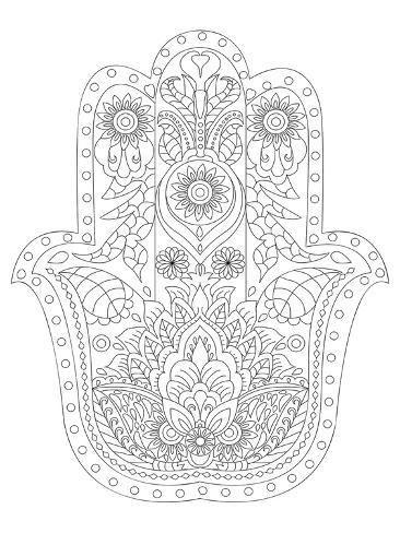 Coloring Poster Hamsa Coloring Art 40x30in Mandala Coloring