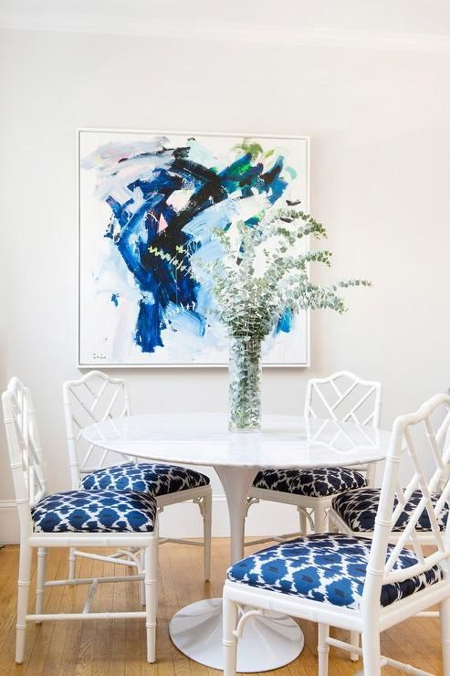White And Blue Dining Room With Faux Bamboo Chairs