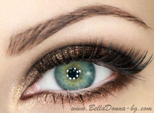 Beautiful make-up in brown and gold - Photo tutorial (step by step) | Bella Donna