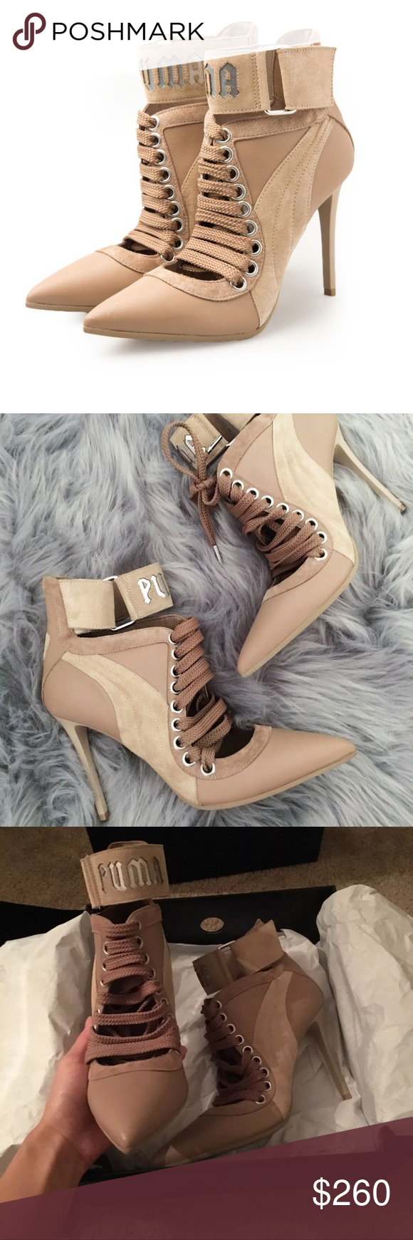 e90446559e5c FENTY PUMA RIHANNA sneaker heel nude lace up Brought from Nordstrom s