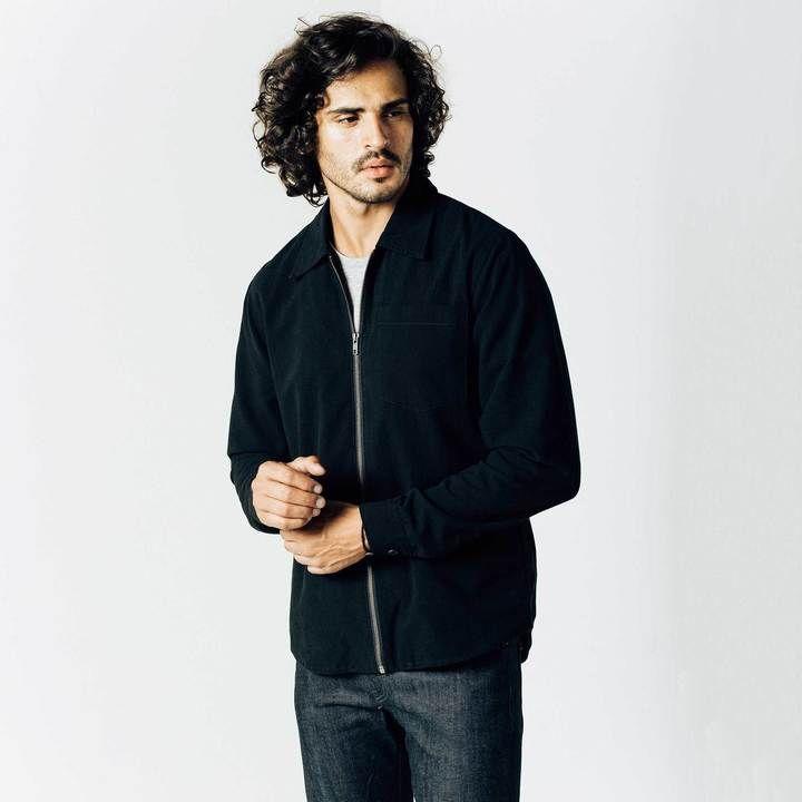 DSTLD Mens Zip Shirt in Black