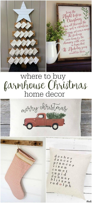 best sources for handmade farmhouse Christmas home decor items ...