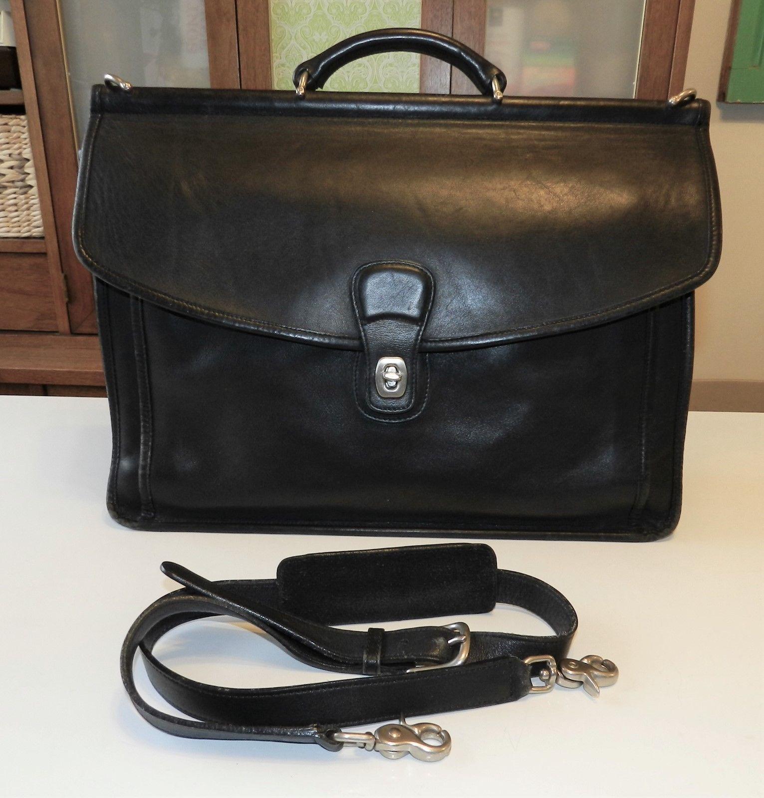 d5f48e5992  80 COACH Beekman 5266 Black Leather Briefcase Messenger Laptop Bag