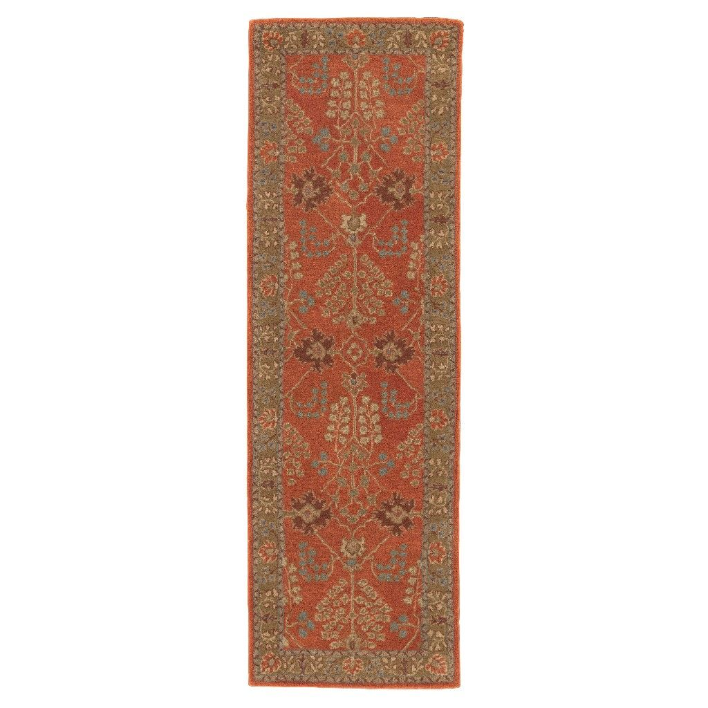 Brehmer Brown Orange Green Area Rug With Images Persian Area