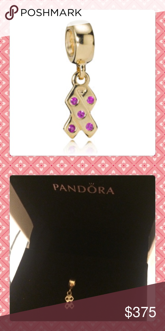 HOT 14k GOLD PANDORA BREAST CANCER AWARENESS CHARM Breast cancer