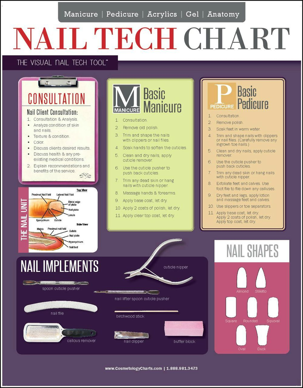 Nail Tech Chart 2 Sided Laminated Quick Reference Guide