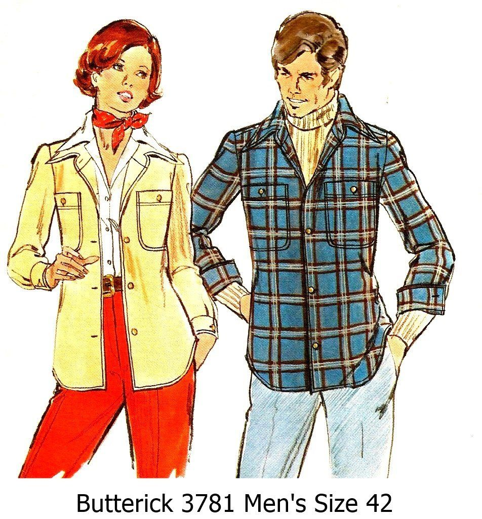 Vintage+1970s+Butterick+Pattern+3781+Men's+Semi+Fitted+Shirtjacket+Size+42